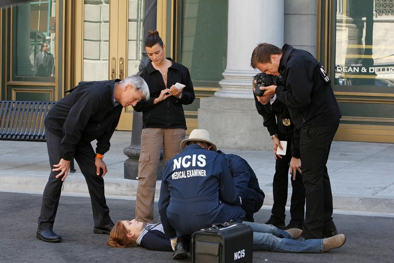 Mark Harmon, Sean Murray, Cote de Pablo, e Michael Weatherly in Cracked di NCIS
