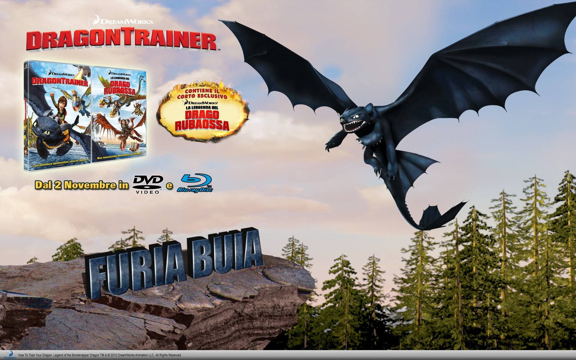 Un wallpaper dedicato all'uscita homevideo di Dragon Trainer