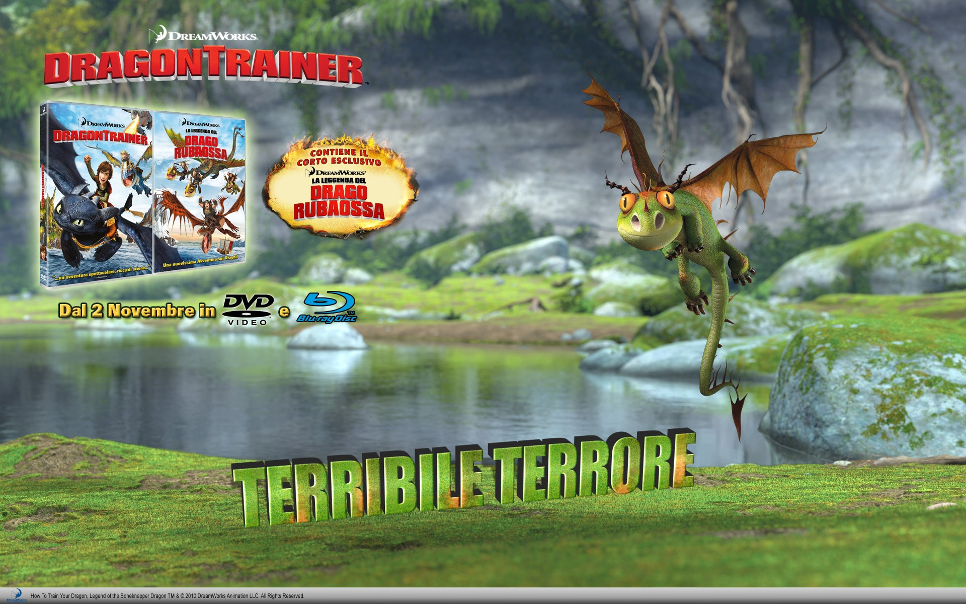 Un wallpaper per l'uscita homevideo di Dragon Trainer