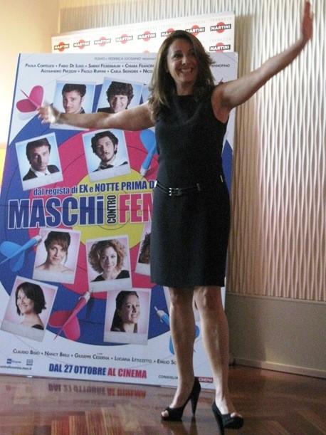 Carla Signoris alla Conferenza Stampa di Maschi contro Femmine (MIlano Terrazze Martini)