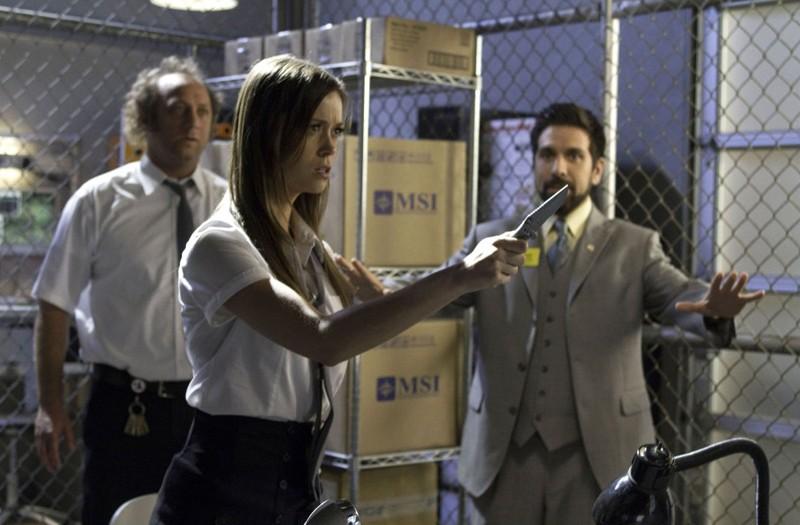 Scott Krinsky, Joshua Gomez e una minacciosa Summer Glau nell'episodio Chuck Versus The Fear of Death