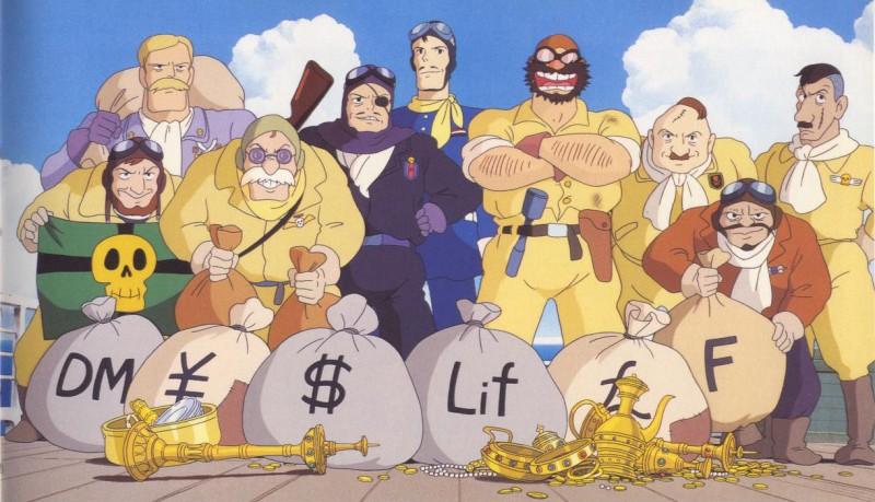Un'immagine del gruppo dei cattivi del film Porco Rosso