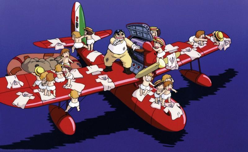 Un'immagine del salvataggio dei piccoli nel film Porco Rosso
