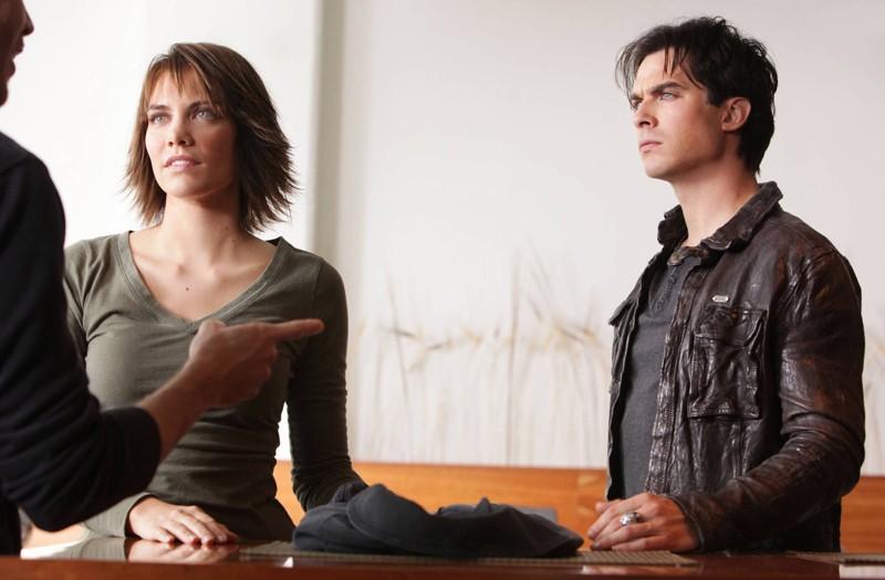 Lauren Cohan e Ian Somerhalder in un momento dell'episodio Katerina di Vampire Diaries
