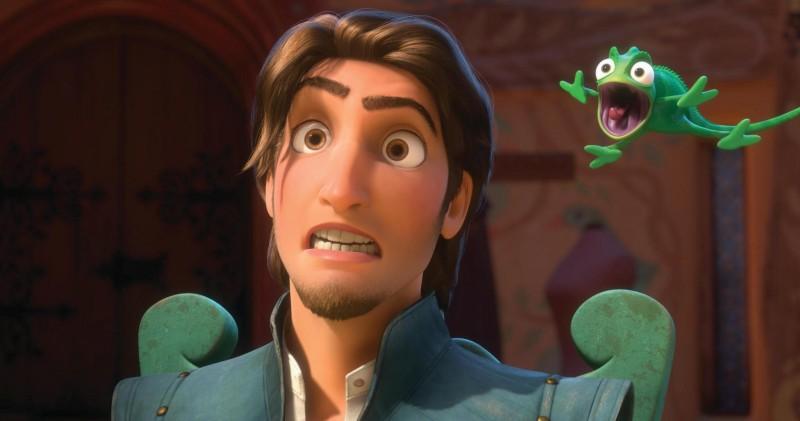 Uno stralunato Flynn Ryder nel film d'animazione Rapunzel - L'intreccio della torre