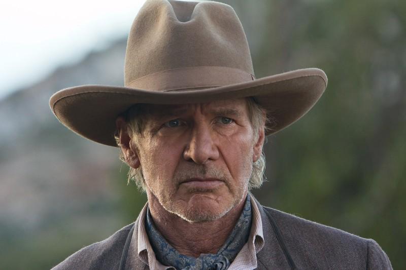 Un primo piano di Col. Woodrow Dolarhyde interpretato da Harrison Ford nel film Cowboys & Aliens