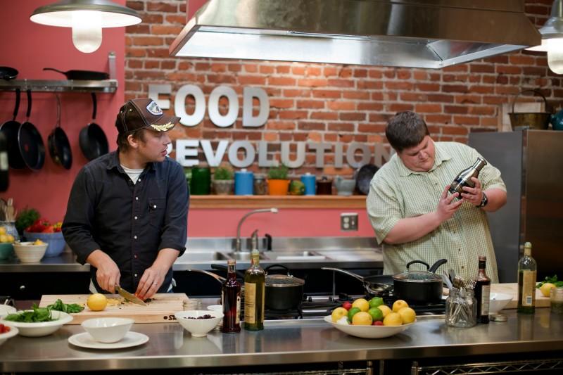 Jamie Oliver durante il programma Food Revolution