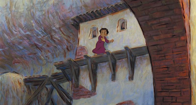 La piccola Mià in pericolo nel film Mia et le Migou