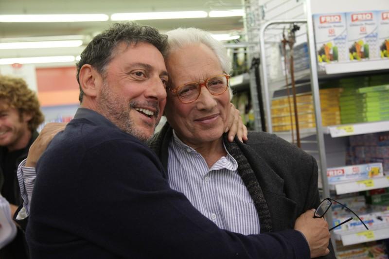Sergio Castellitto ed Enzo Jannacci sul set del film La bellezza del somaro
