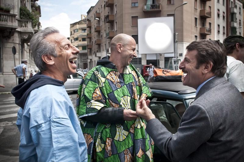 Aldo, Govanni e Giacomo durante le riprese de La banda dei Babbi Natale