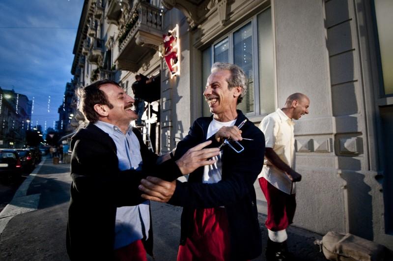 Aldo, Govanni e Giacomo si divertono sul set de La banda dei Babbi Natale