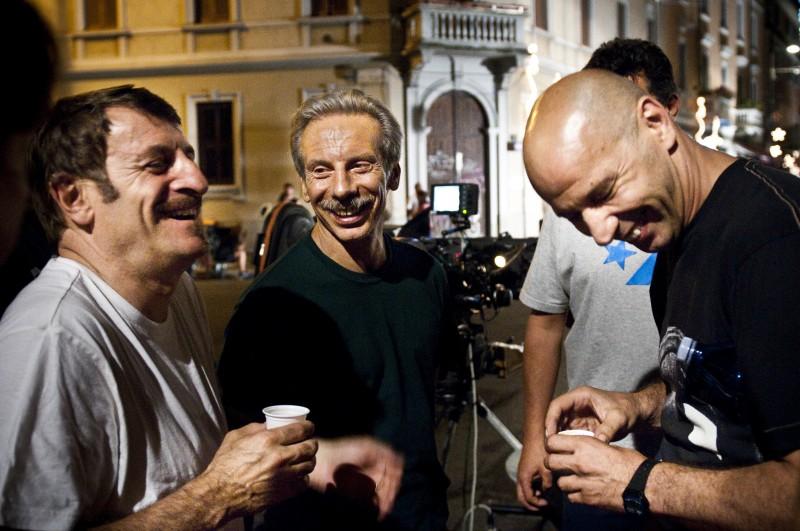 Aldo, Govanni e Giacomo sul set de La banda dei Babbi Natale