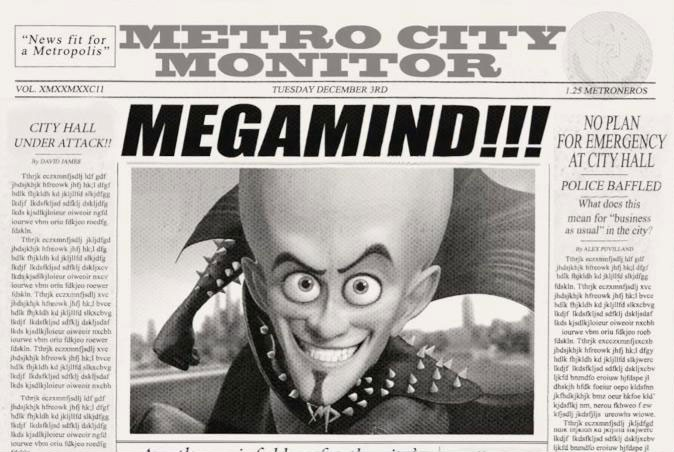 Una sequenza del film Megamind