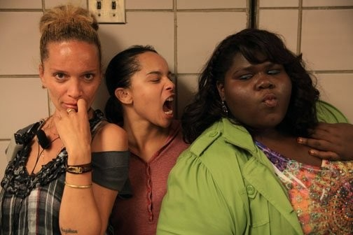 Zoe Kravitz e Gabby Sidibe sul set di Yelling to the Sky accanto alla regista Victoria Mahoney