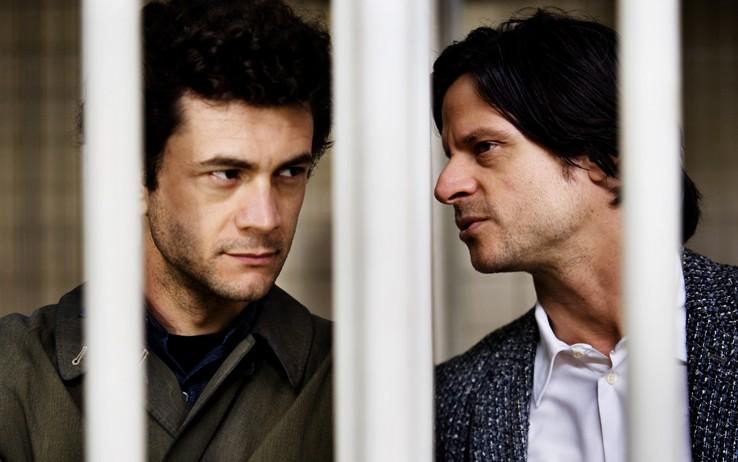 Vinicio Marchioni e Andrea Sartoretti in una scena del nono episodio di Romanzo Criminale 2