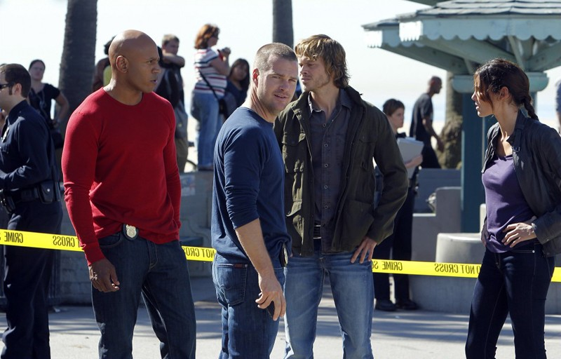 LL Cool J, Chris O'Donnell, Eric Christian Olsen e Daniela Ruah nell'episodio Disorder di NCIS: Los Angeles
