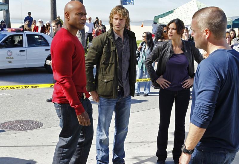 LL Cool J, Eric Christian Olsen, Daniela Ruah e Chris O'Donnell nell'episodio Disorder di NCIS: Los Angeles