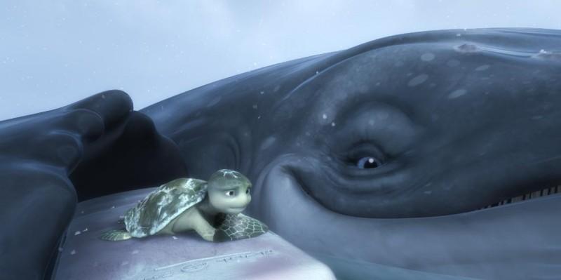 Il piccolo Sammy in una scena pericolosa del film d'animazione Le avventure di Sammy - Il passaggio segreto