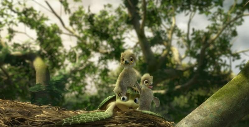 Il tartarughino marino in una tenera immagine del film d'animazione Le avventure di Sammy - Il passaggio segreto