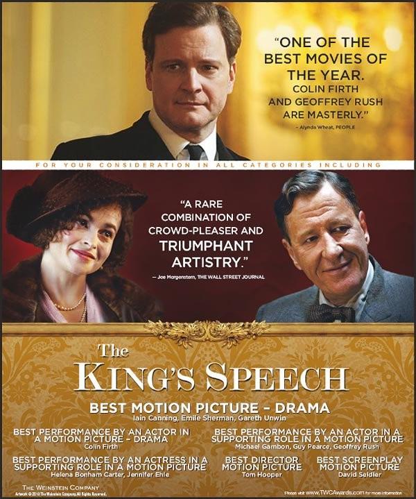 Locandina per le nomination ai premi di The King\'s Speech