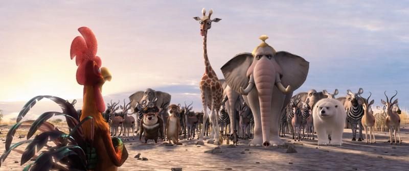 Charles di fronte al gruppo di animali protagonisti del film Animals United