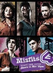 I cinque protagonisti di Misfits nel poster promozionale di channel 4