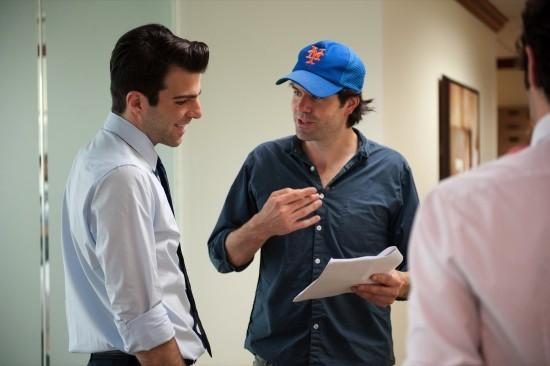 Zachary Quinto e il regista J.C. Chandor in Margin Call