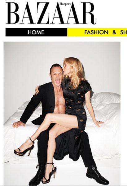 Trudie Styler e Sting su una cover sexy del magazine Harper's Bazaar