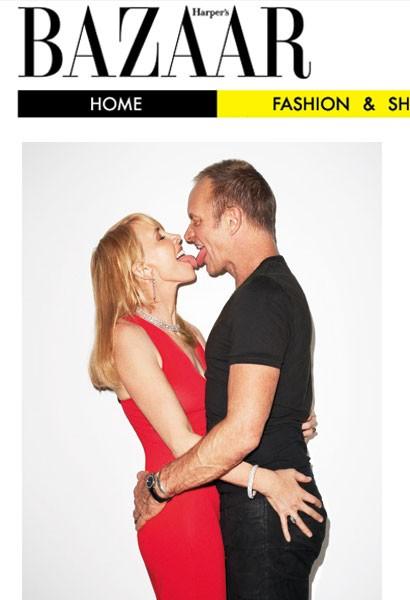 Trudie Styler e suo marito Sting su una cover sexy di Harper's Bazaar