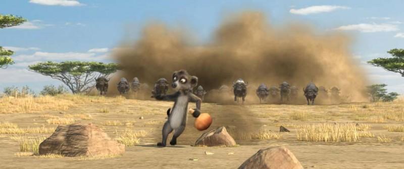 Il lemure Billy prova a guidare una mandria nel film Animals United