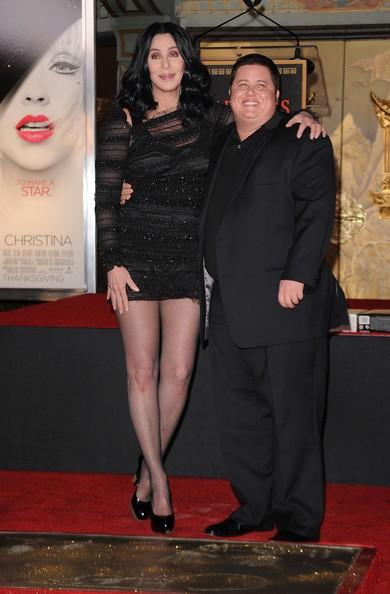 Cher e Chaz Bono durante una serata promozionale di Burlesque
