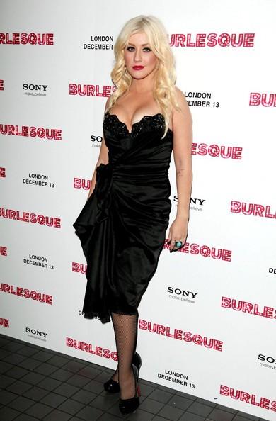 Christina Aguilera durante la promozione britannica di Burlesque