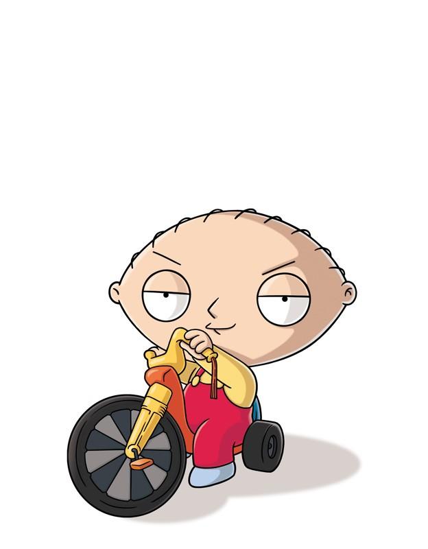 Un'immagine promo di Stewe sul triciclo per la stagione 7 de I Griffin