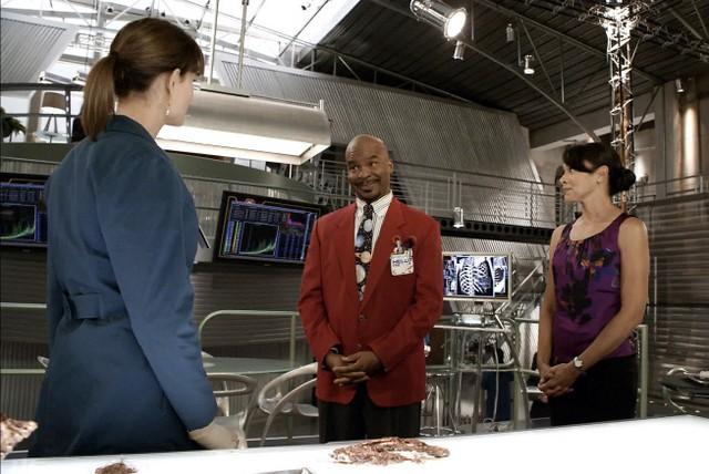 Emily Deschanel, Tamara Taylor e David Alan Grier in una scena dell'episodio The Body and the Bounty di Bones