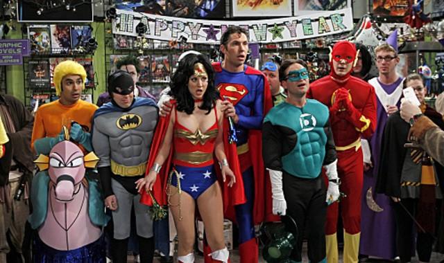 Una foto di gruppo dall'episodio The Justice League Recombination di The Big Bang Theory