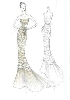Abito-sirena disegnato per Belen Rodriguez da Alberta Ferretti in occasione di Sanremo 2011.