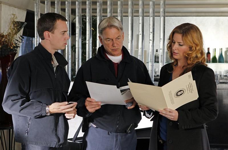 Sean Murray, Mark Harmon e Diane Neal in Ships in the Night di NCIS