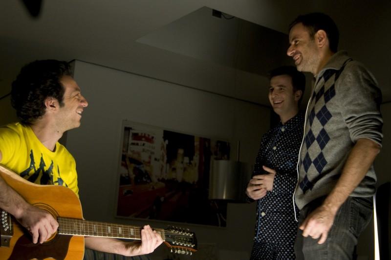 Ficarra e Picone con il regista Fausto Brizzi sul set del film Femmine contro Maschi