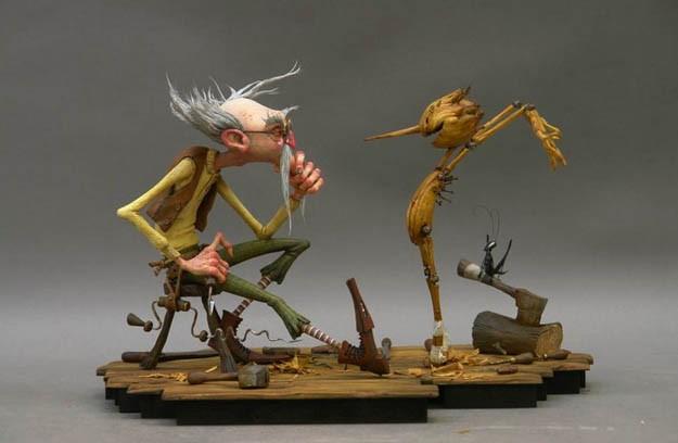 Mastro Geppetto e il suo Pinocchio nella pellicola di animazione diretta da Gris Grimly