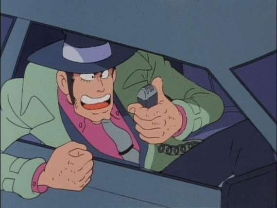 L\'isp. Zenigata in una scena de Il tesoro di Al Capone della serie Lupin, l\'incorreggibile Lupin