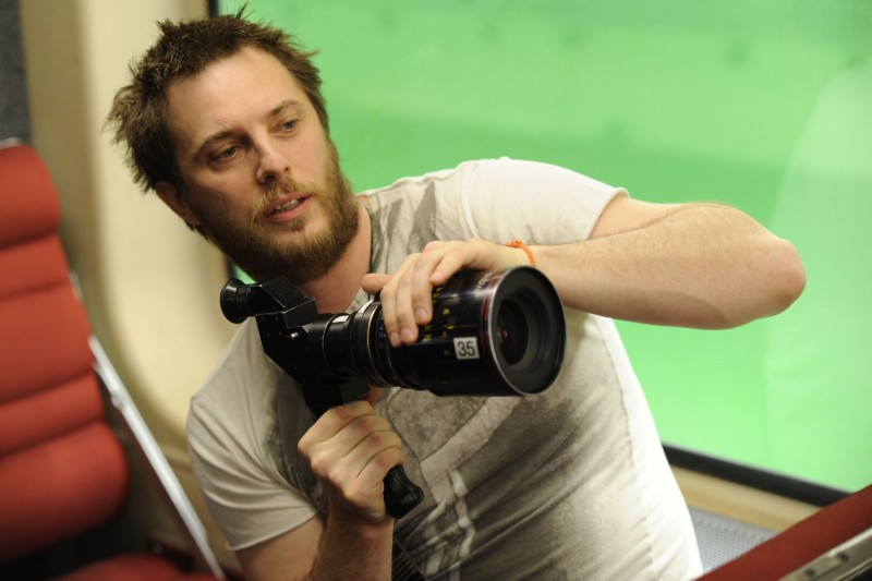 Duncan Jones sul set del film The Source Code
