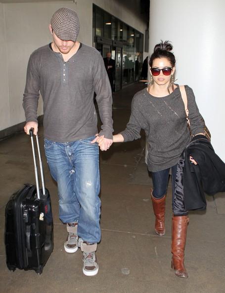 La coppia Channing Tatum e Jenna Dewan arrivano all'aeroporto di Los Angeles