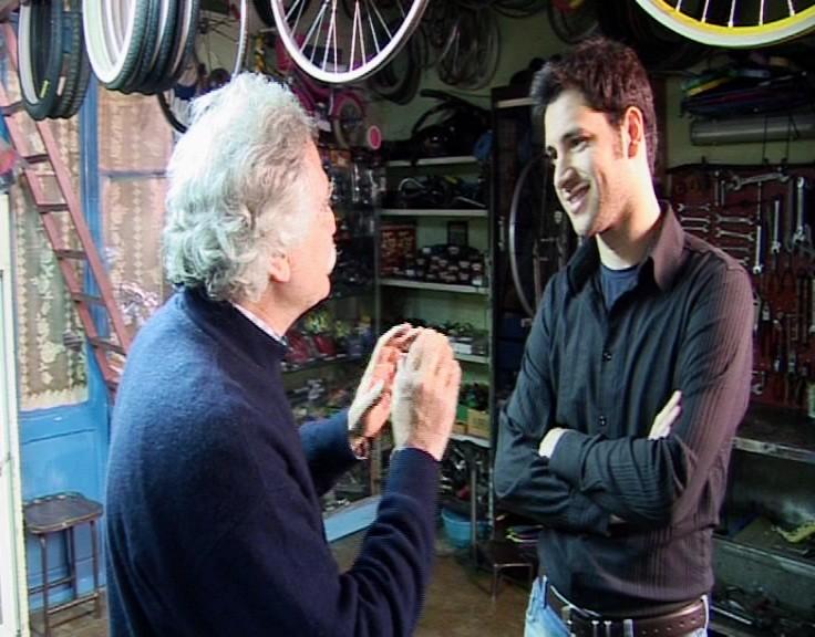 Carlo Cutolo sul set di Mi alzo sui pedali - 2008