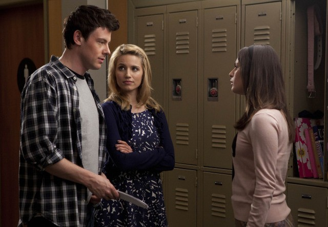 Cory Monteith, Dianna Agron e Lea Michele nell'episodio A Night of Neglect di Glee