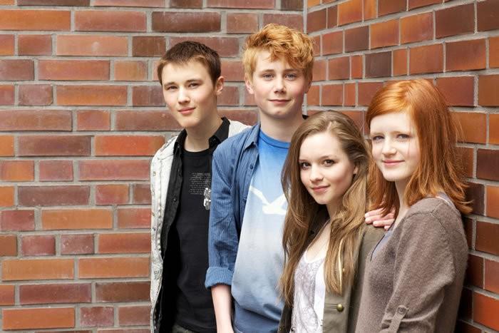 Moritz Glaser, Lukas Mrowietz con altre due interpreti del film Der Himmel hat vier Ecken
