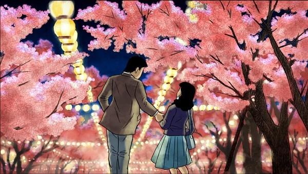 Passeggiata notturna sotto i fiori di ciliegio nel film d'animazione Tatsumi