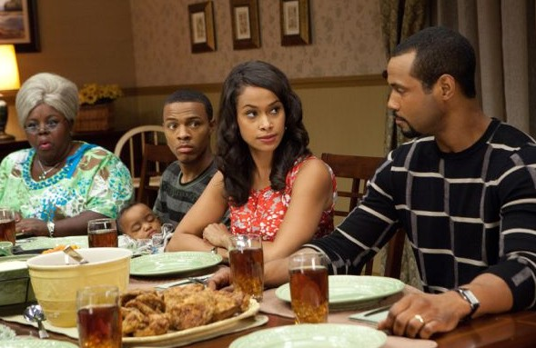 Zia Bam (Cassi Davis), Byron (Bow Wow), Kimberly (Shannon Kane) and Calvin (Isaiah Mustafa) nel film Madea's Big Happy Family
