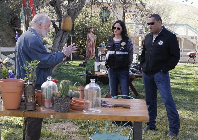 Jorja Fox e Laurence Fishburne durante l'indagine nell'episodio Turn On, Tune In, Drop Dead di CSI: Scena del crimine