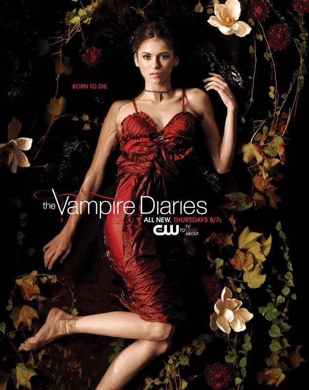 Un character poster con Nina Dobrev sdraiata in acqua per la season 2 di Vampire Diaries