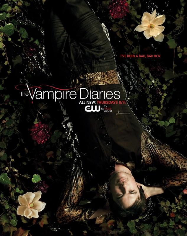 Un character poster con Ian Somerhalder sdraiato in acqua per la season 2 di Vampire Diaries